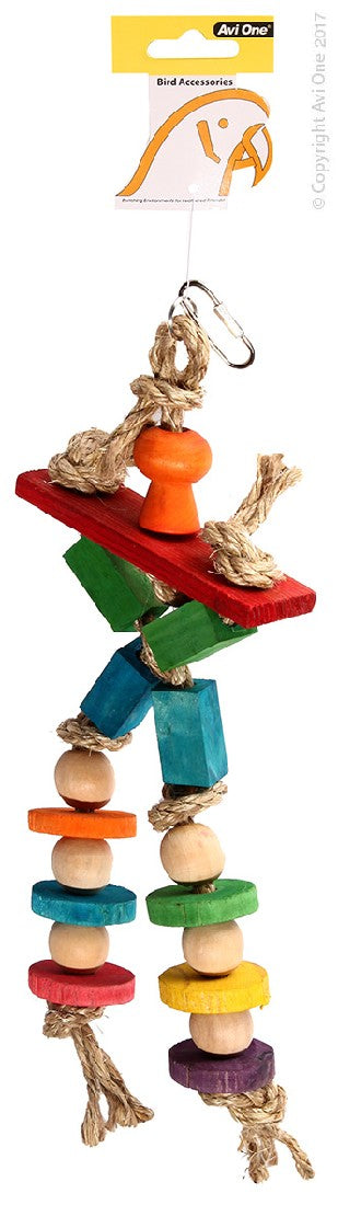 AVI ONE PARROT TOY WOODEN CROSS WITH SISAL