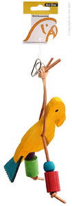AVI ONE PARROT TOY WOODEN BIRD WITH LEATHER