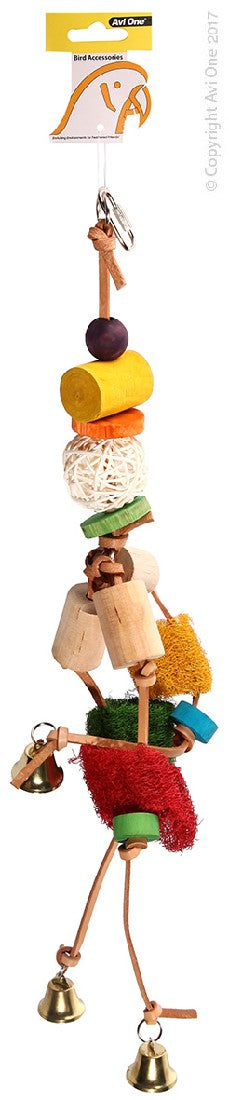 AVI ONE PARROT TOY LEATHER MOBILE WITH LOOFAH & WICKER BALL