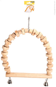 AVI ONE PARROT SWING NATURAL WOOD WITH BELLS