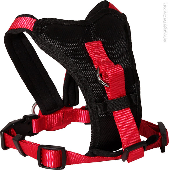 PET ONE 54-66CM HARNESS COMFY 20MM PADDED BLACK