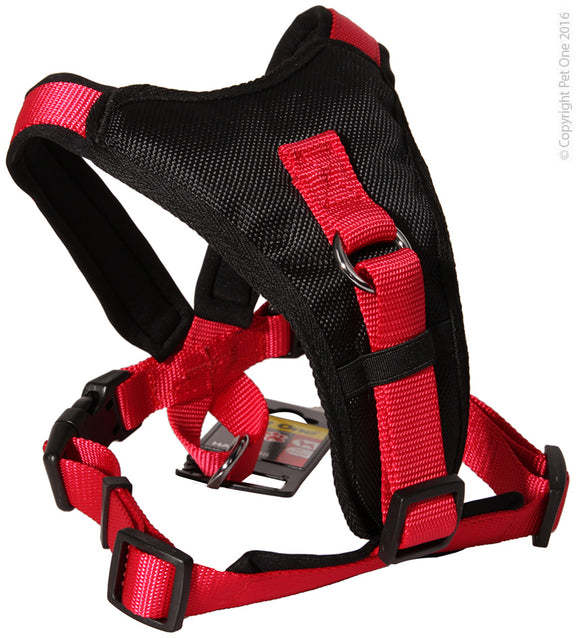 PET ONE 64-78CM HARNESS COMFY 25MM PADDED BLACK
