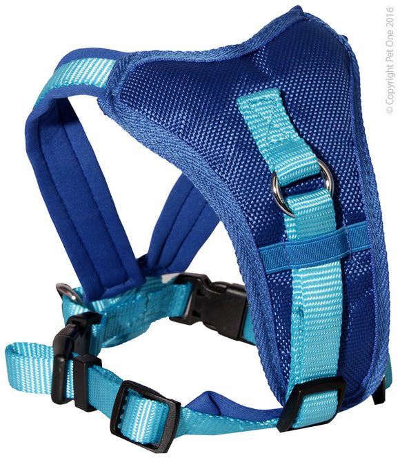 PET ONE 76-92CM HARNESS COMFY 25MM PADDED BLUE