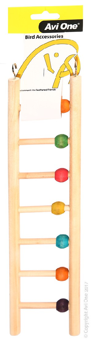 AVI ONE BIRD TOY WOODEN LADDER 7 RUNG W/BEADS