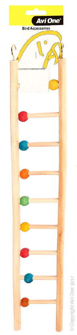 AVI ONE BIRD TOY WOODEN LADDER 9 RUNG W/BEADS