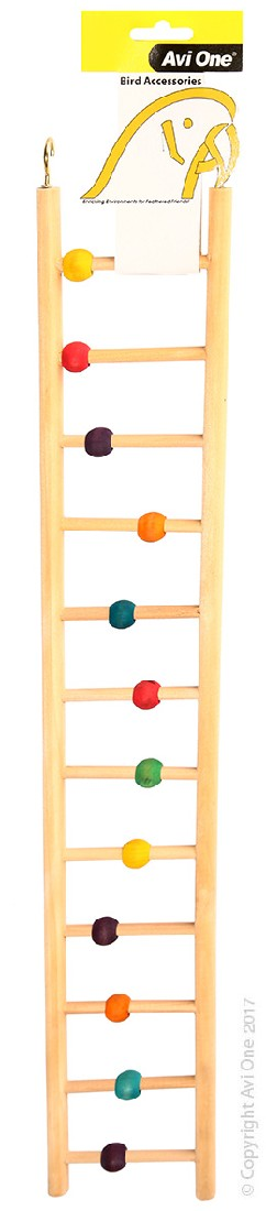 AVI ONE BIRD TOY WOODEN LADDER 12 RUNG WITH BEADS