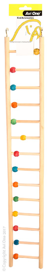 AVI ONE BIRD TOY WOODEN LADDER 14 RUNG WITH BEADS