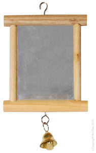 AVI ONE BIRD TOY WOOD FRAMED MIRROR WITH BELL
