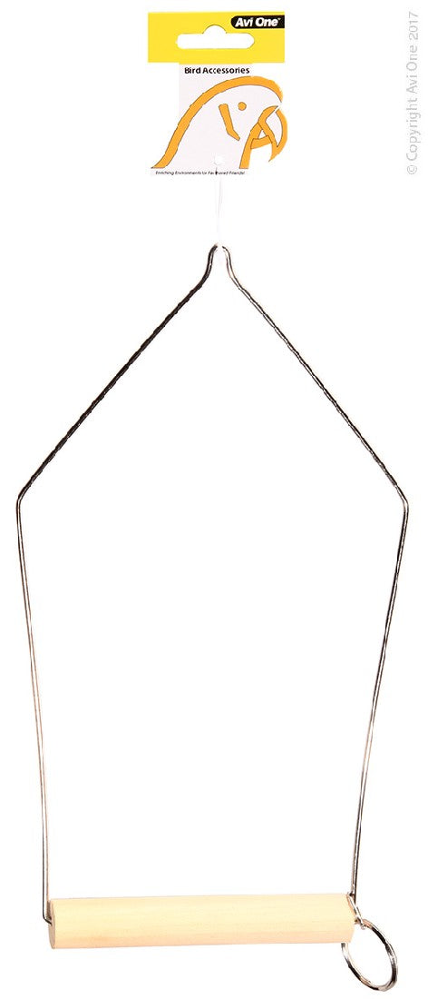 AVI ONE BIRD TOY TRIANGLE WIRE SWING WITH WOODEN PERCH L
