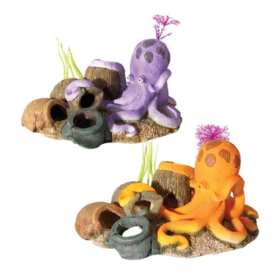 AQUA ONE ORNAMENT OCTOPUS WITH VASES ORANGE