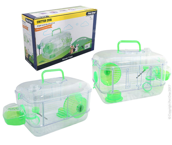PET ONE CRITTER CRIB MOUSE HABITAT 1 LEVEL GREEN 40Lx27Wx27cmH