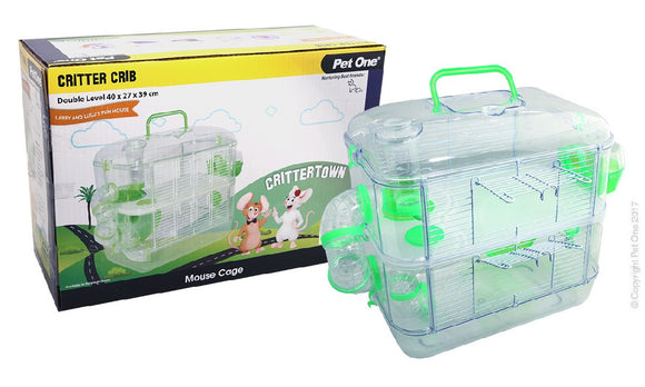 PET ONE CRITTER CRIB MOUSE HABITAT 2 LEVEL GREEN 40Lx27Wx39cmH