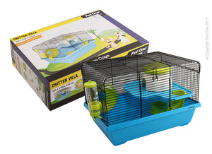 PET ONE CRITTER VILLA MOUSE WIRE CAGE BLUE GREEN 42Lx31Wx27cm H