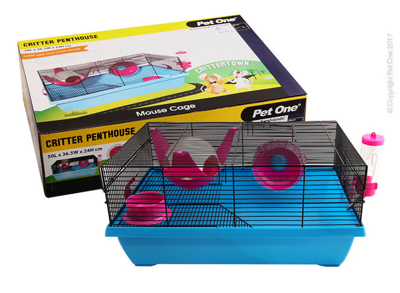PET ONE CRITTER PENTHOUSE MOUSE WIRE CAGE BLUE PINK 50Lx36.5Wx24cmH