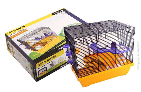 PET ONE CRITTER MANSION MOUSE WIRE CAGE WHITE YELLOW 42Lx30Wx36.5cmH