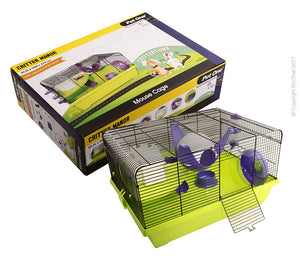 PET ONE CRITTER MANOR MOUSE WIRE CAGE PURPLE GREEN 50Lx36.5Wx29cmH