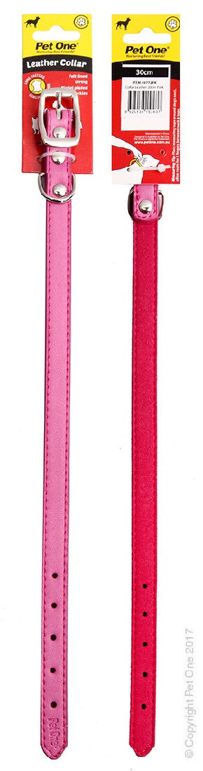 PET ONE COLLAR LEATHER 30CM PINK