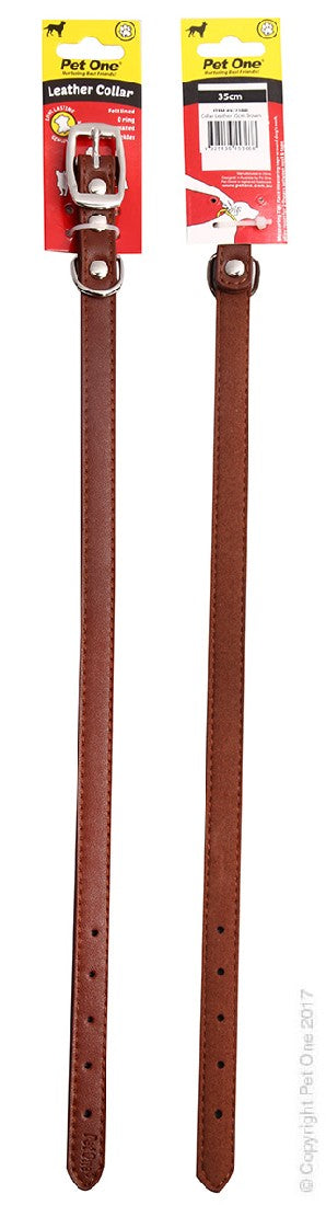 PET ONE COLLAR LEATHER 35CM BROWN