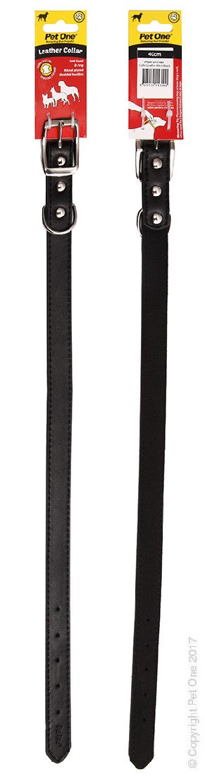 PET ONE COLLAR LEATHER 40CM BLACK
