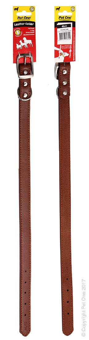 PET ONE COLLAR LEATHER 40CM BROWN