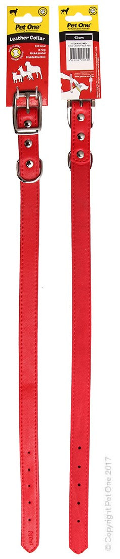 PET ONE COLLAR LEATHER 40CM RED