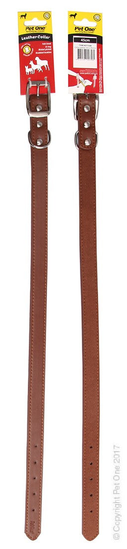 PET ONE COLLAR LEATHER 45CM BROWN
