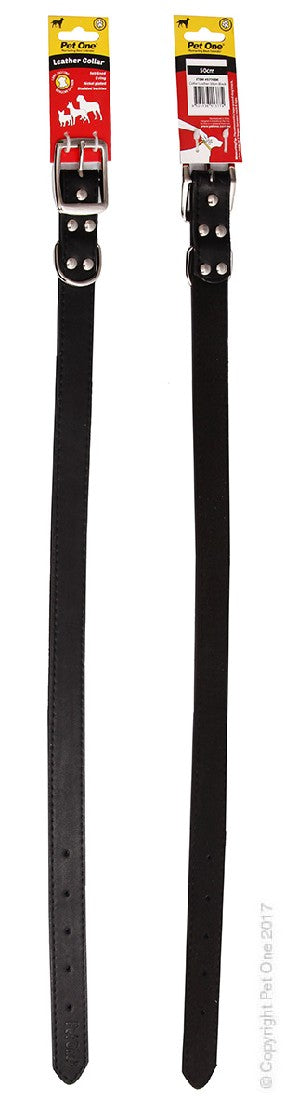 PET ONE COLLAR LEATHER 50CM BLACK