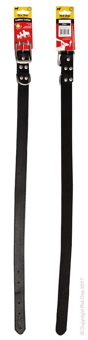 PET ONE COLLAR LEATHER 55CM BLACK