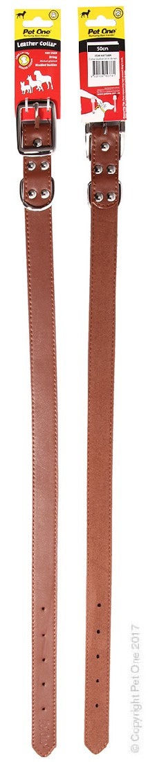 PET ONE COLLAR LEATHER 55CM BROWN