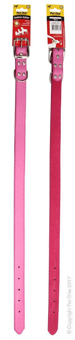PET ONE COLLAR LEATHER 55CM PINK