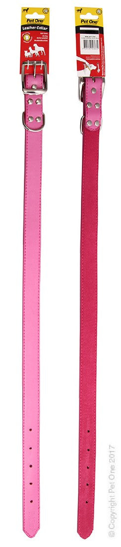 PET ONE COLLAR LEATHER 60CM PINK