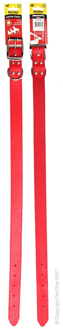 PET ONE COLLAR LEATHER 60CM RED