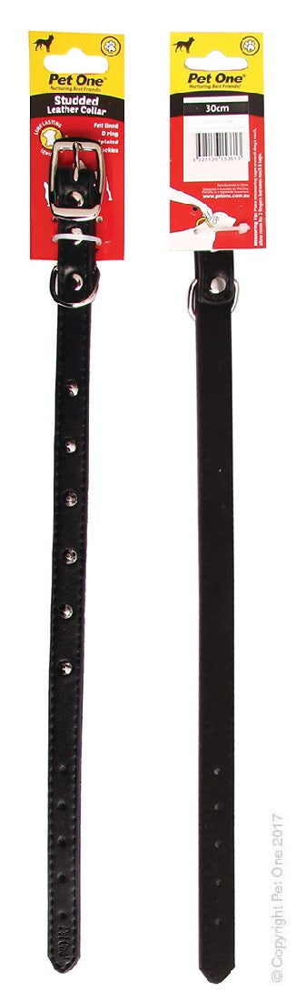 PET ONE COLLAR LEATHER STUDDED 30CM BLACK