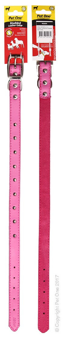 PET ONE COLLAR LEATHER STUDDED 40CM PINK