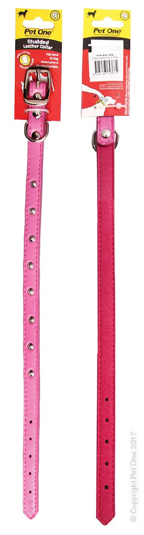 PET ONE COLLAR LEATHER STUDDED 45CM PINK