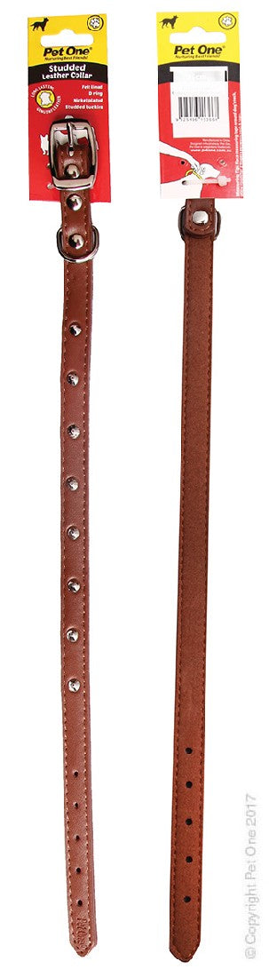 PET ONE COLLAR LEATHER STUDDED 50CM BROWN