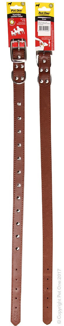 PET ONE COLLAR LEATHER STUDDED 55CM BROWN