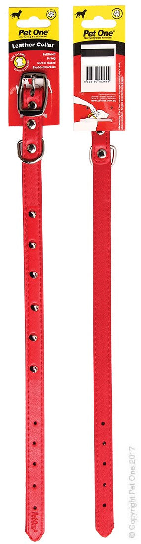 PET ONE COLLAR LEATHER STUDDED 55CM RED