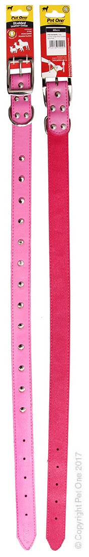 PET ONE COLLAR LEATHER STUDDED 60CM PINK