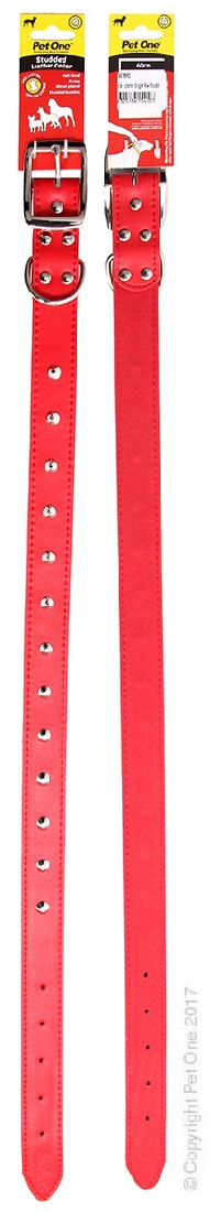 PET ONE COLLAR LEATHER STUDDED 60CM RED