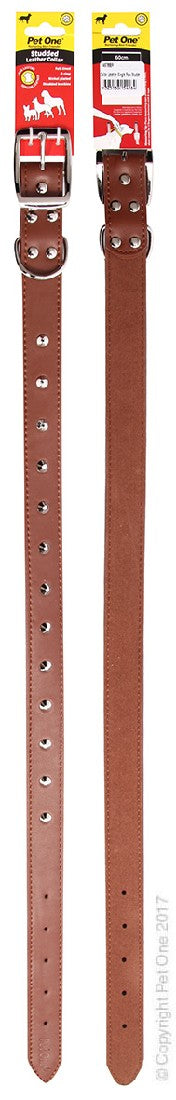 PET ONE COLLAR LEATHER STUDDED 65CM BROWN