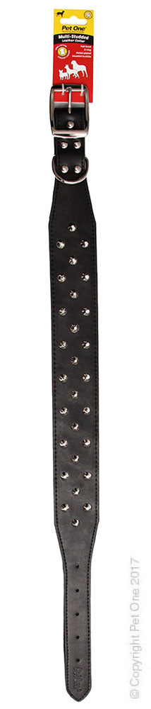 PET ONE COLLAR LEATHER 3 ROW STUD 55CM BLACK