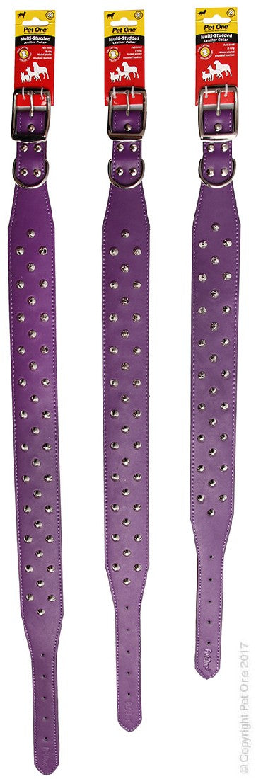 PET ONE COLLAR LEATHER 3 ROW STUD 55CM PURPLE