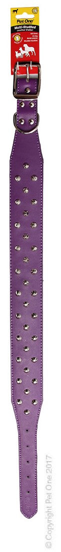 PET ONE COLLAR LEATHER 3 ROW STUD 60CM PURPLE