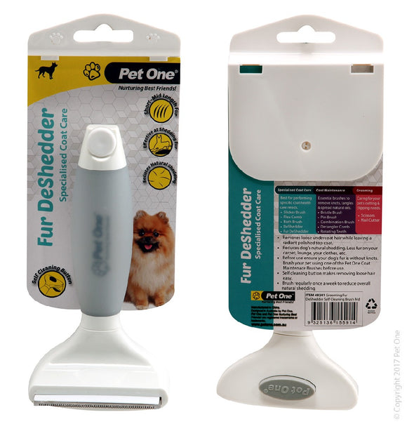 PET ONE GROOMING FUR DESHEDDER SELF CLEANING BRUSH MED