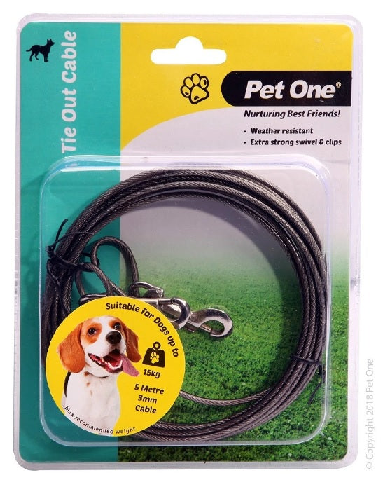 PET ONE TIE OUT CABLE 5M 3MM