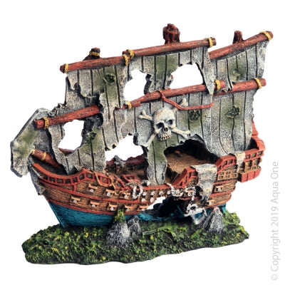 AQUA ONE ORNAMENT PIRATE SHIP 19CM