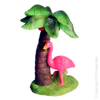 AQUA ONE ORNAMENT FLAMINGO WITH PALM TREE