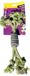 PET ONE DOG TOY 3 ROPE SPIRAL GRIP GRREN/GREY 30CM