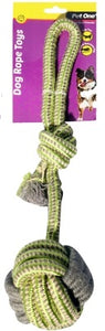 PET ONE DOG TOY TUG ROPE 10CM BALL WITH KNOT GREEN/GREY